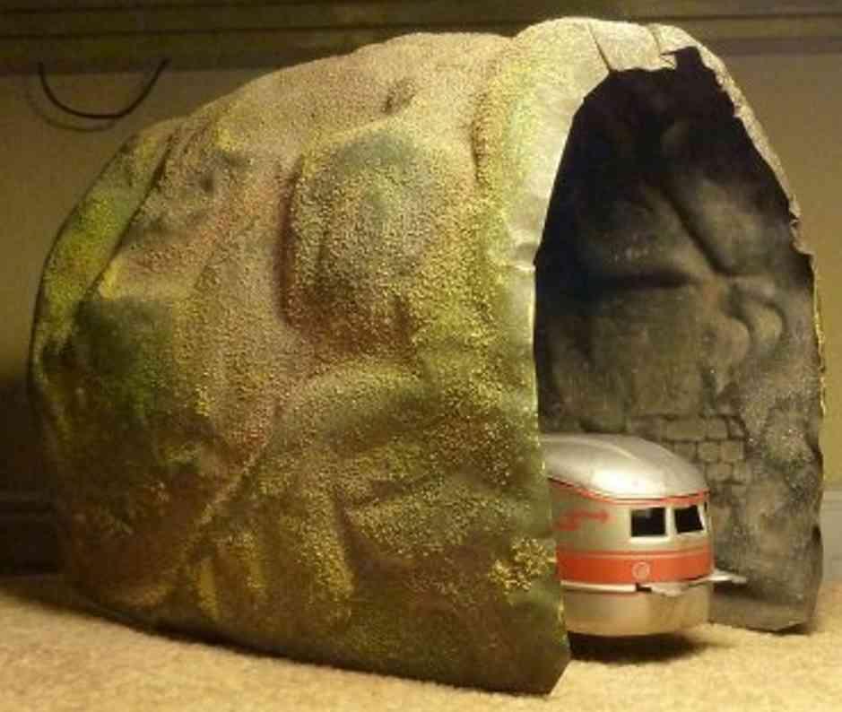 bing 10/612/1 spielzeug eisenbahn tunnel tunnel auf blech mit geländemasse, geprägte mauern