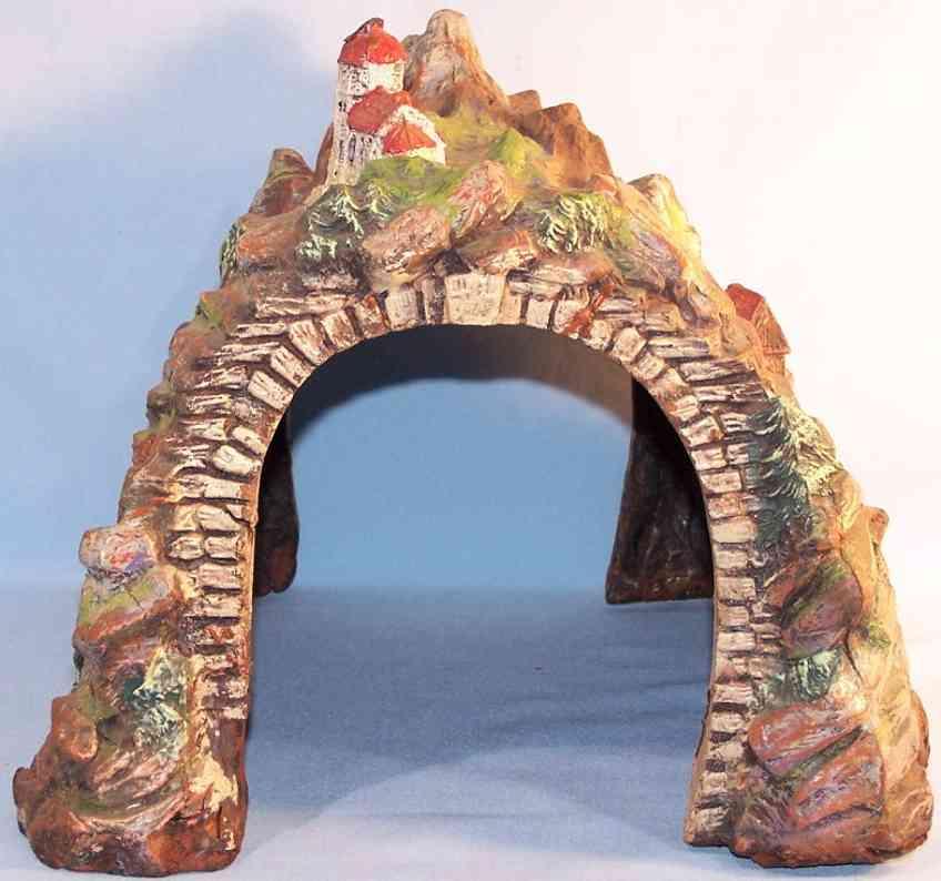 hausser elastolin toy tunnel mountain scene water mill anmonastery composition