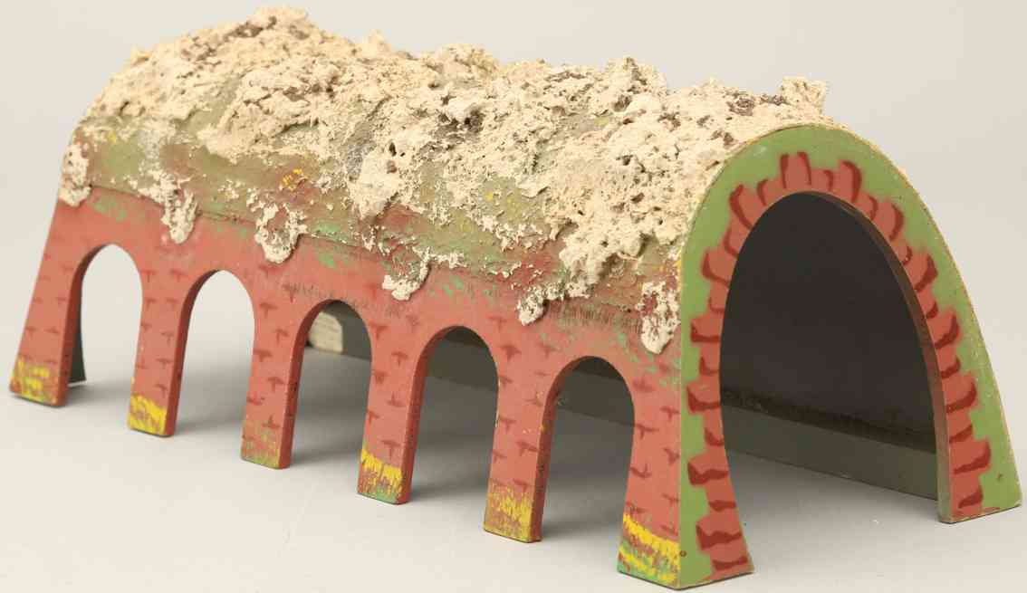 kibri 0/42 (1952) railway toy tunnel wood 5 recessed arched openings avalanche rubble