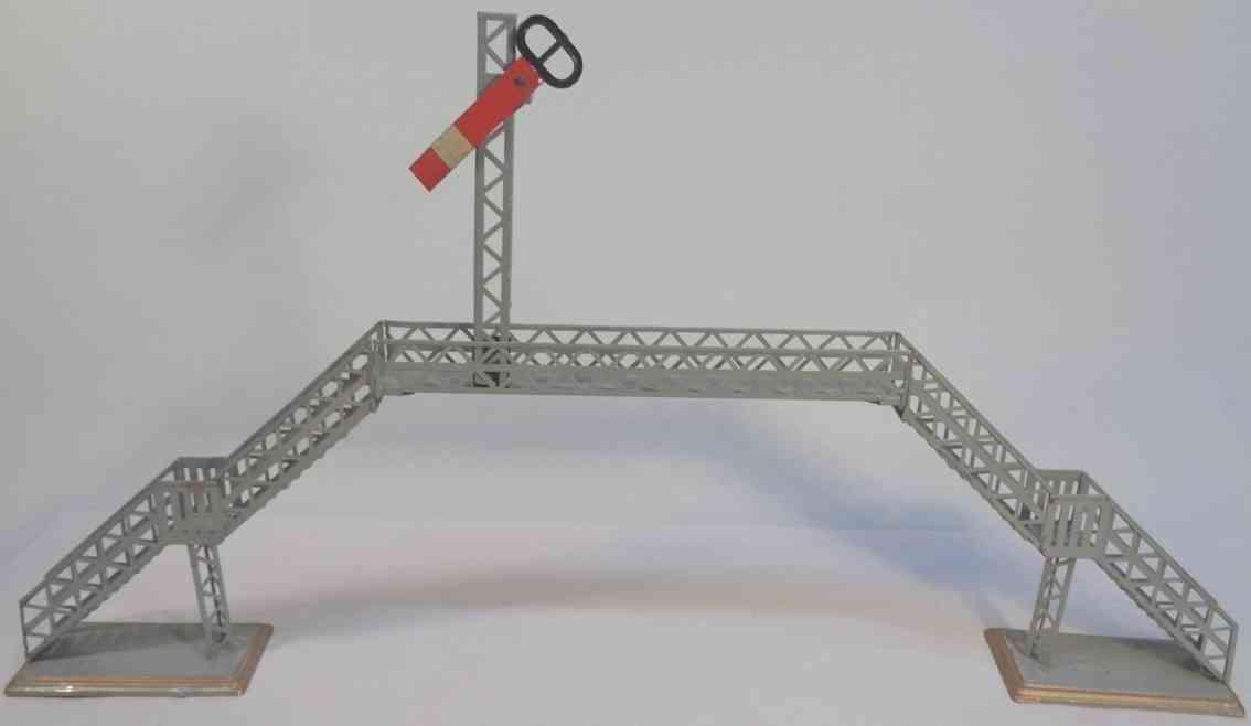 bing 10269/1 railway toy gangway overhead pedestrian foot bridge plug-in semaphores