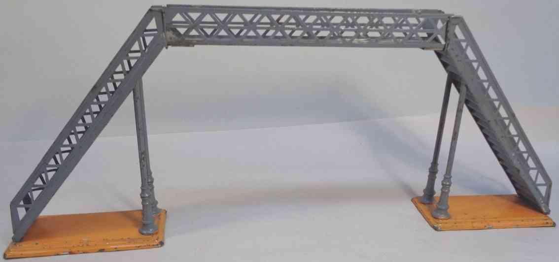 bing 14495/1 railway toy gangway signal bridge with two signals