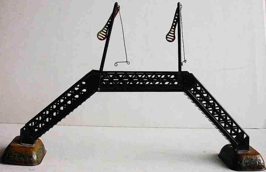 bing spielzeug eisenbahn übergangssteg blechbrücke mit 2 signalen