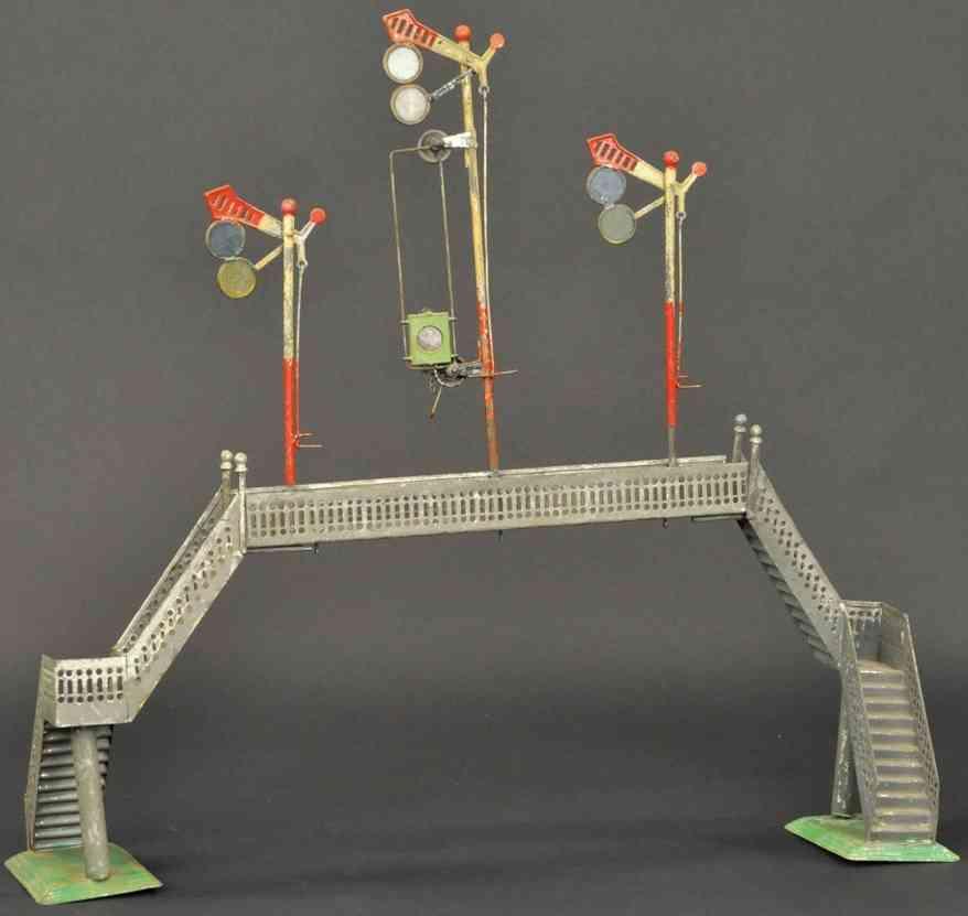 schoenner jean railway toy overhead signal bridge grey three signals