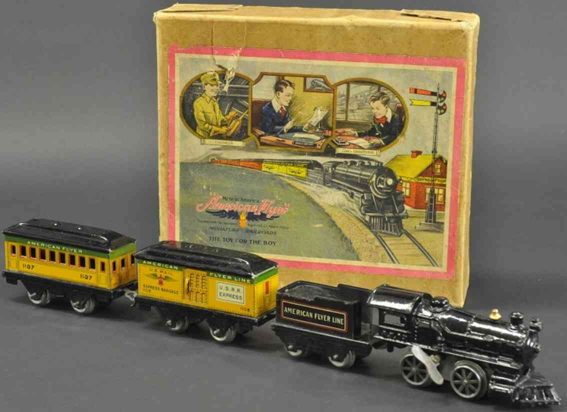 american flyer 10 120 1107 1108 railway toy train passenger set gauge 0