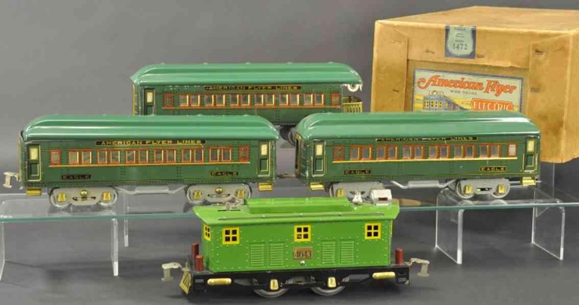 american flyer toy company 1472 spielzeug eisenbahn adlerzug set-nr. 1472, bestehend aus lokomotive nr. 4643, zw