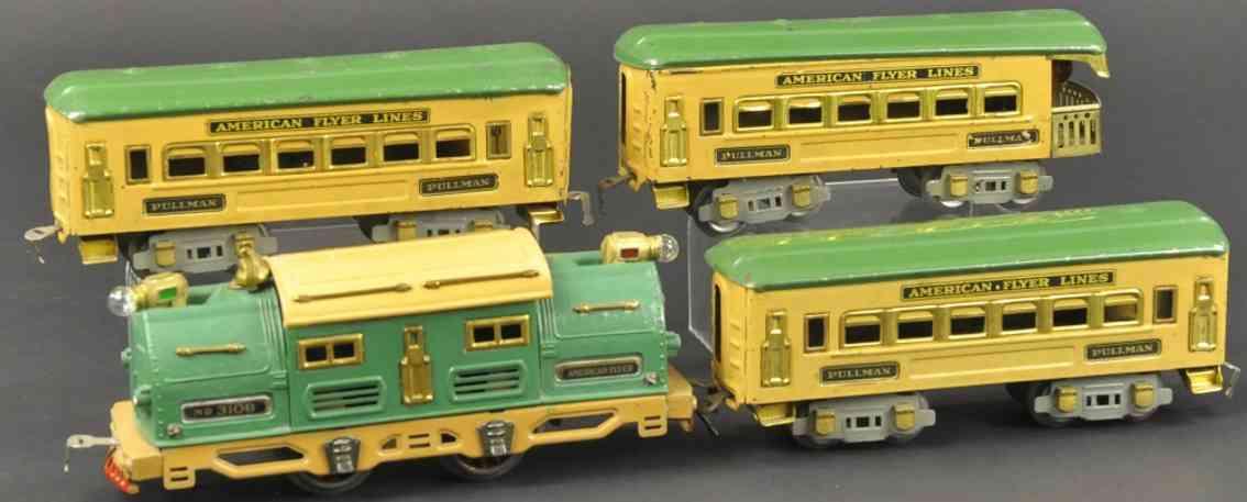 american flyer 3109 personenzug elektro-lokomotive gruen gelb spur 0