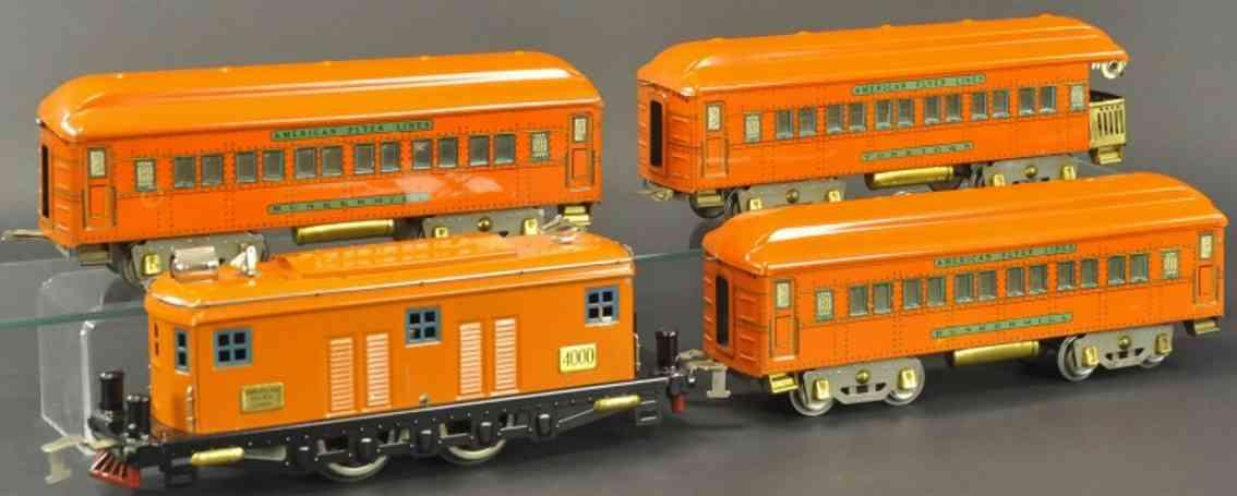 american flyer 4000 eisenbahn personzugset orange wide gauge