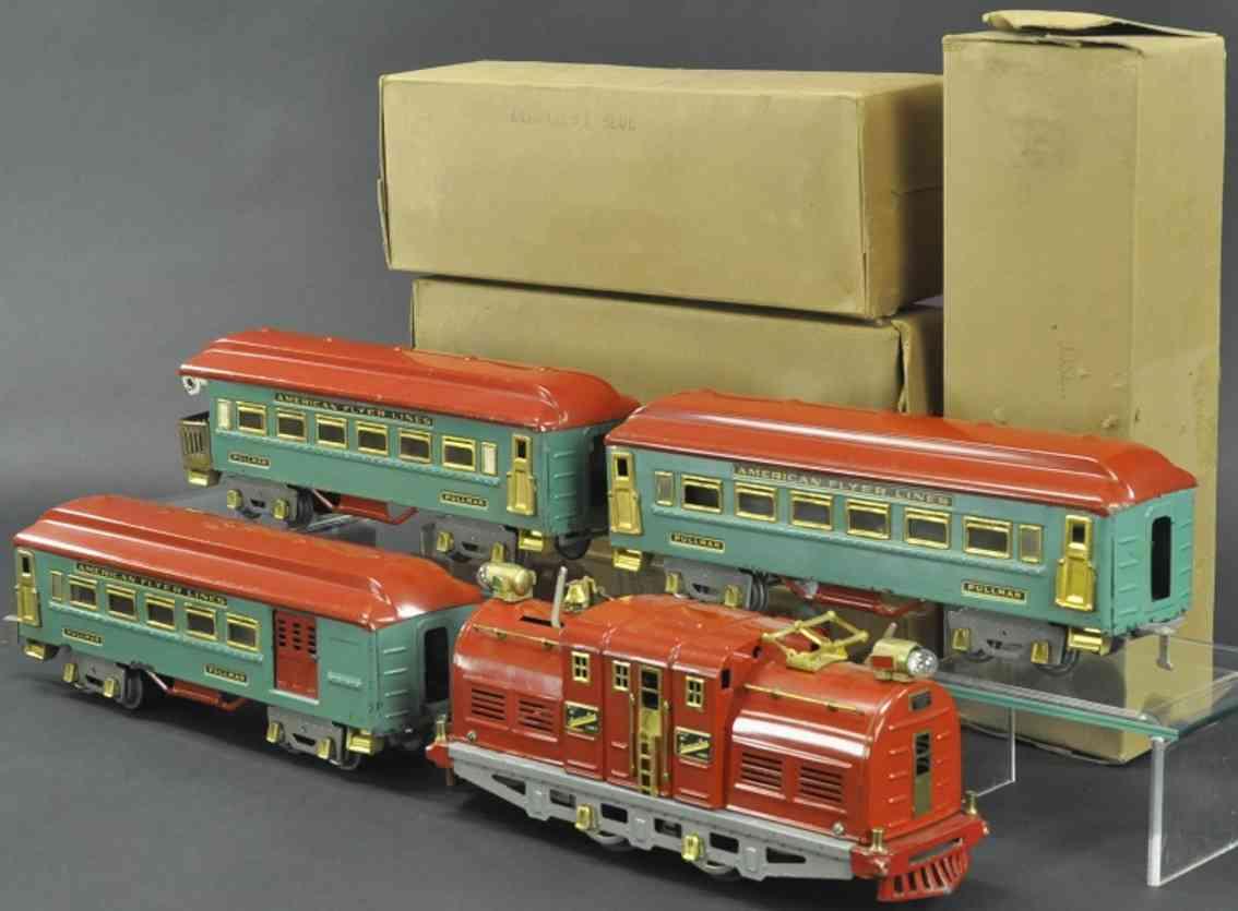 american flyer 4635 4350 4351 4352 personenzug  blaugrau rot wide gauge