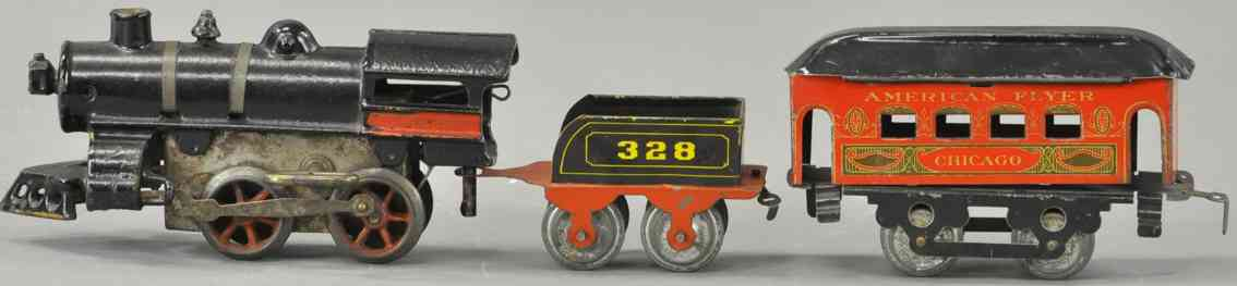 american flyer toy company spielzeug eisenbahn metzel chicago  personenzug 328 spur 0