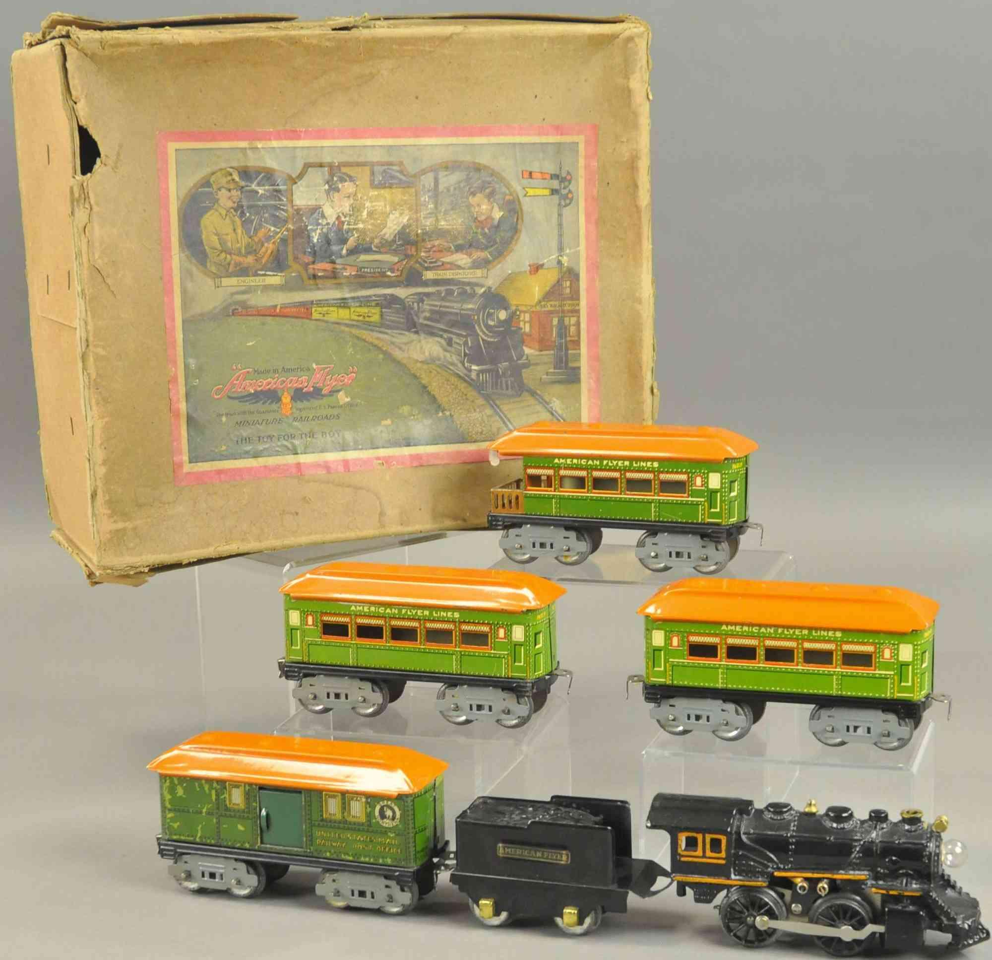 american flyer  spielzeug eisenbahn personenzug dampflokomotive tender vier wagen spur 0