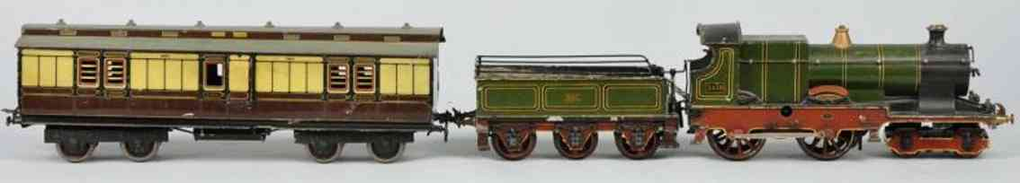 bassett-lowke 440 englische uhrwerkdampflokomotive tender gepaeckwagen spur 1