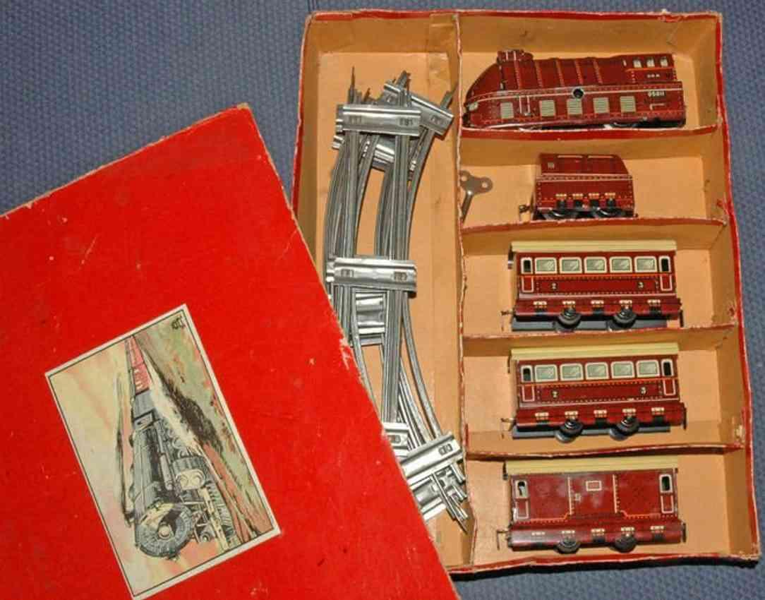 beckh ottmar 5011/8/5 passenger train borsig clockwork loco 3 cars brown gauge 0