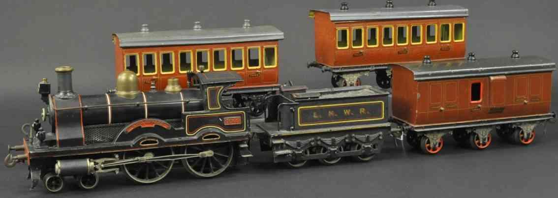 bing 33593/2 spur 2 personenzug spiritus-dampflokomotive drei personenwagen