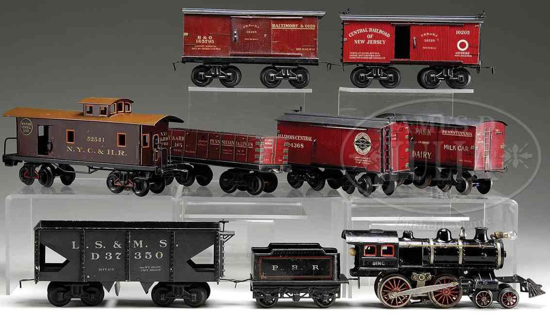 bing spielzeug eisenbahn zug amerikanische dampflokomotive mit kuhfängerm -glocke und ver