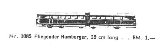 karl bub 1085 spielzeug eisenbahn fliegender hamburger spur 0