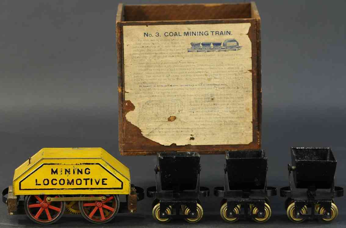 carlisle & finch 3 railway toy  mining train three dump coal cars gauge 2 inches