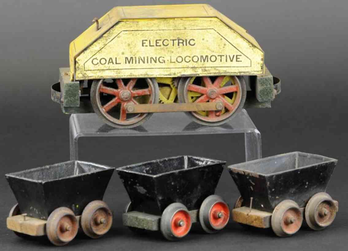 carlisle & finch railway toy electric coal mining lcomotive three cars