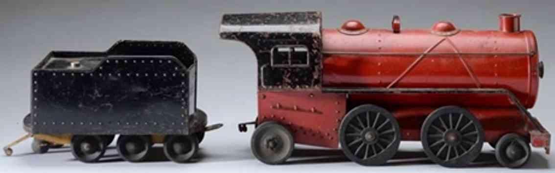 cor-cor toy company pressed steel railway toy freight train set loco tender caboos gondola