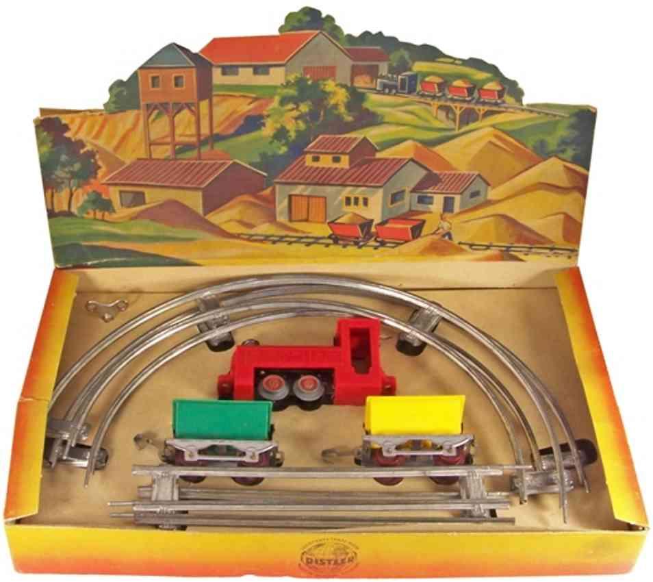 distler johann spielzeug eisenbahn sandbahn Lok grün 2 Loren spur 0