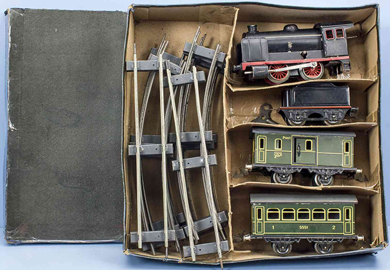 doll railway toy start package with passenger train loco tender 2 cars gauge 0