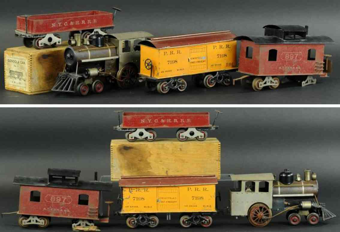 howard electric novelty company 7198 897 21 railway toy train freight set standard gauge