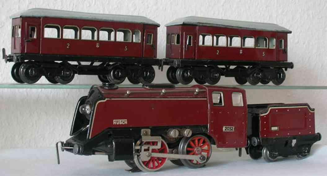husch spielzeug eisenbahn zug schnellzug bestehend auf lokomotive 2032 mit tender und zwei