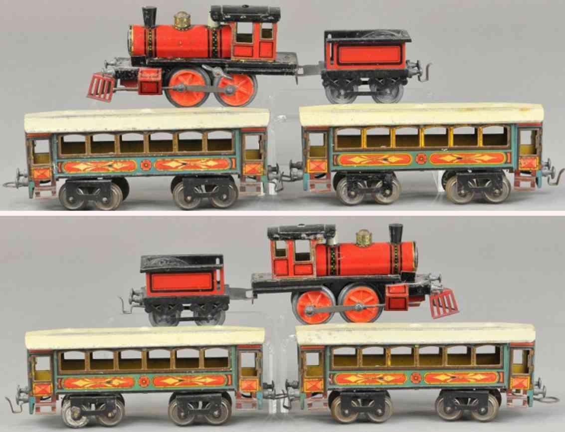 issmayer personenzug amerikanische uhrwerk-dampflokomotive spur 0