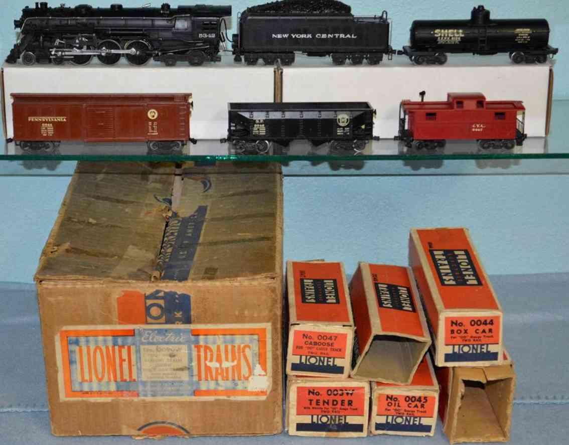 Ives 0090W Güterwagenzug Lokomotive 003 Tender 003W Güterwagen 0044 0046 Tankwagen 0045 Caboose 0047