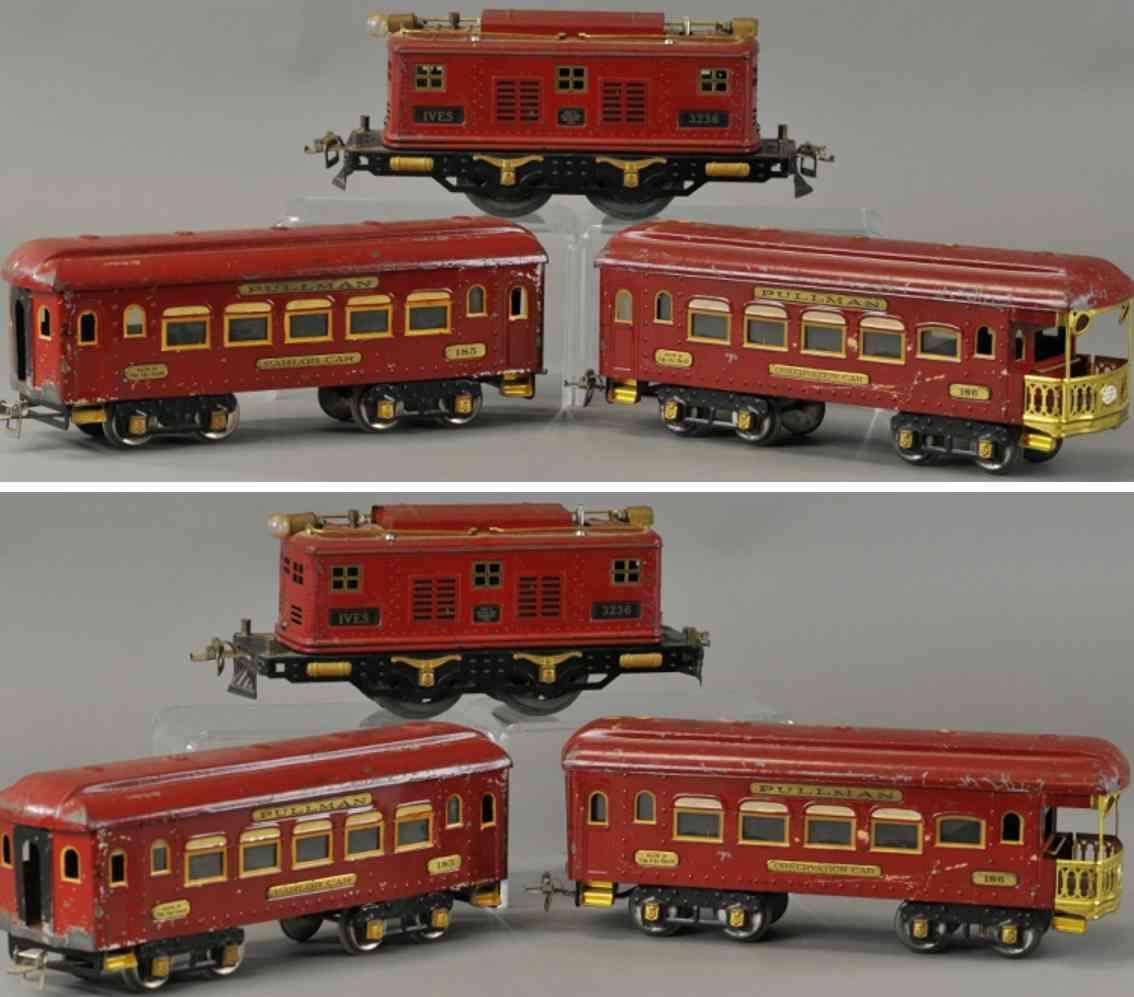 ives 1010/1010r  personenzug lok 3236r wagen 185 186 rot wide gauge