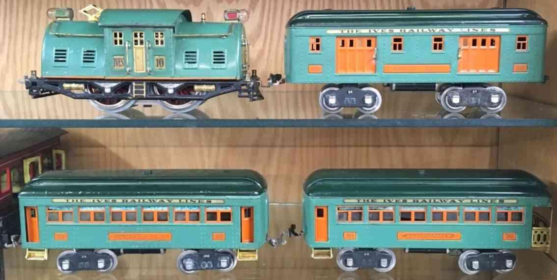 ives 1731e loco 10 332 339 341 railway toy passenger train set peacock wide gauge
