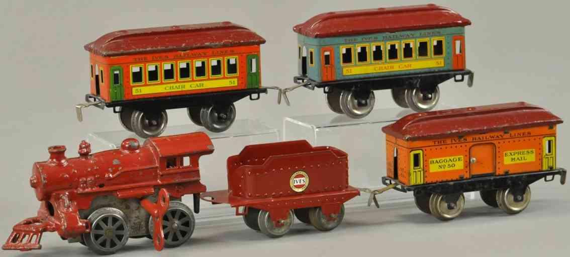 ives 31 Seneca Set spielzeug eisenbahn personenzugseneca  1125 50 51 rot spur 0