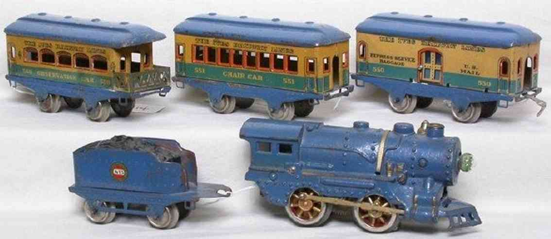 ives 572 railway toy train passenger set blue vagabond 17 550 552 558 gauge 0