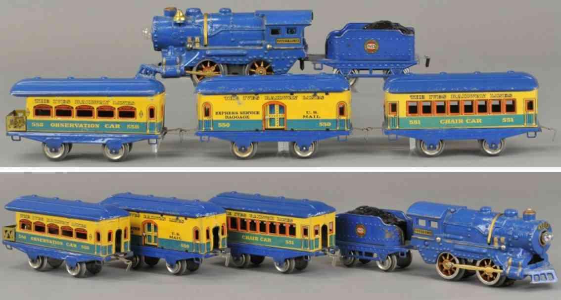 ives 572 railway toy train passenger set blue vagabond 17 550 551 558 gauge 0