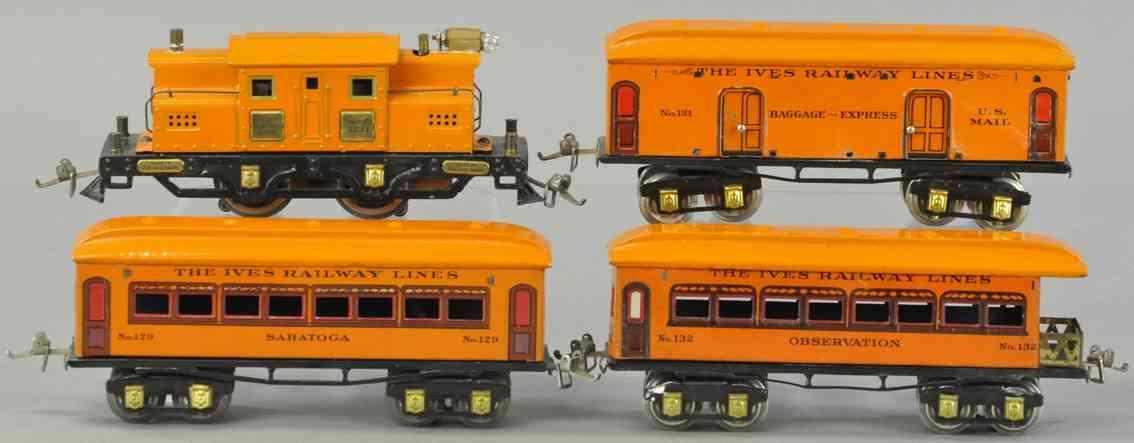 ives 639 3254 129  131 132 spielzeug eisenbahn personenzug orange