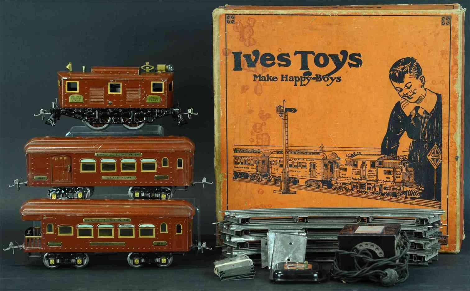 ives set-nr. 691r personenzug braun 084 schlafwagen 186 aussichswagen wide gauge