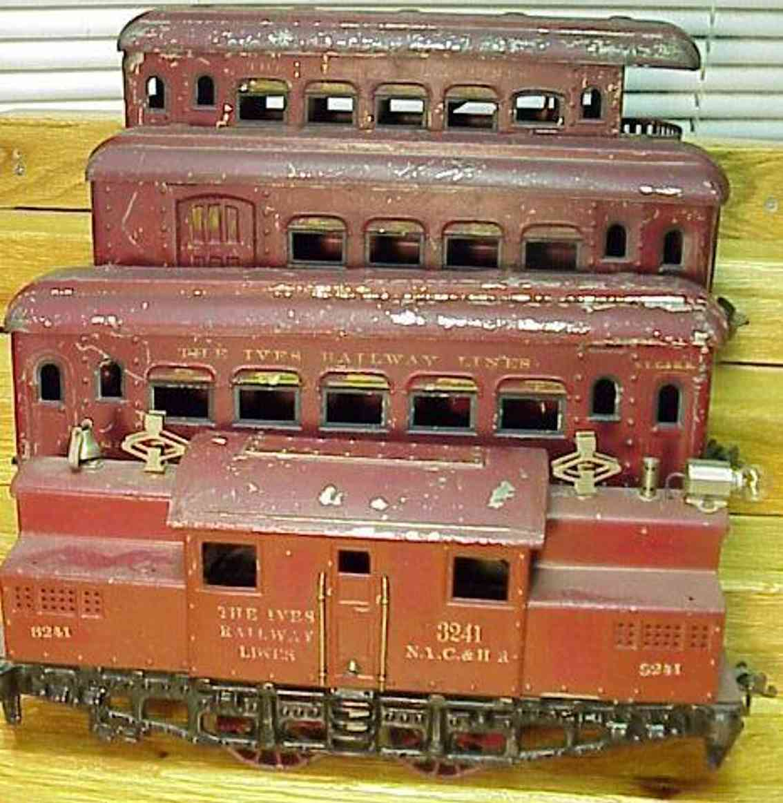 ives set 701 elektrolokomotive 3241 wagen701 3241 184 185 186 rot wide gauge