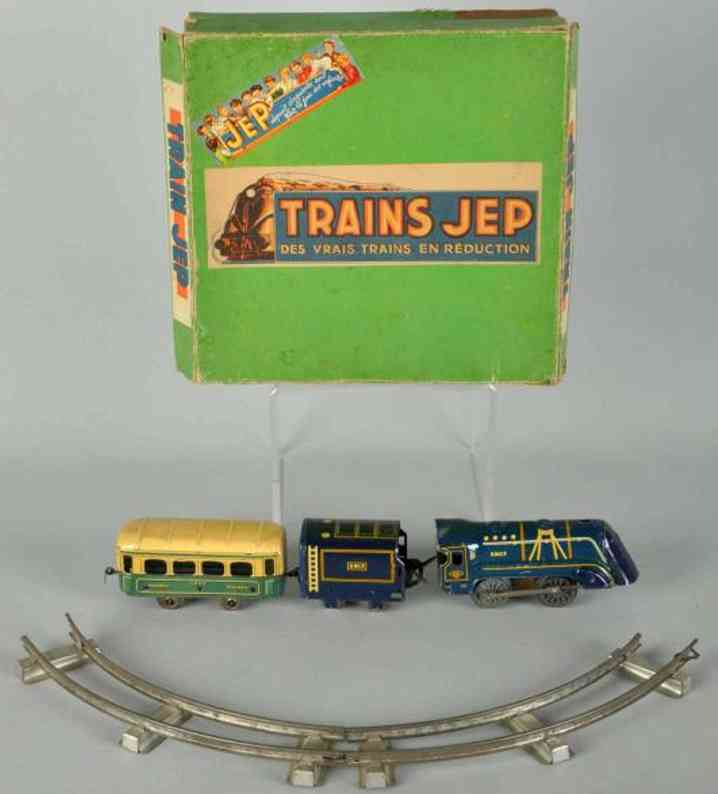 jep railway toy train tin wind-up passenger train set