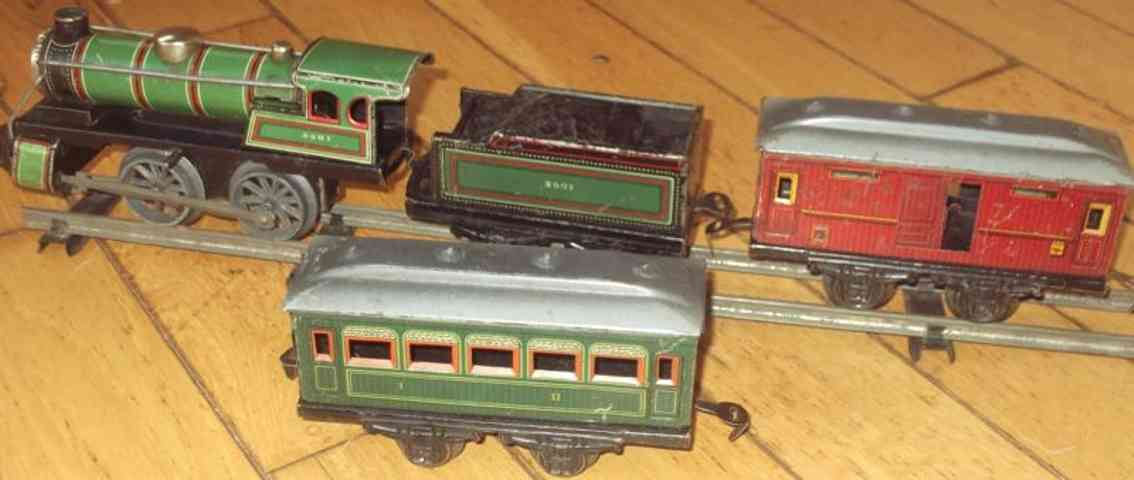 kraus-fandor spielzeug eisenbahn zug zugset mit uhrwerklokomotive mit tender, personen- und güter