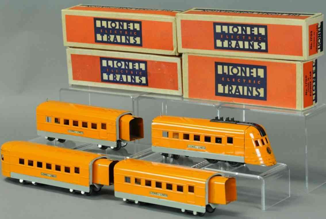 lionel 1700 1701 1702  stromlinienfoermiger zug  orange grau spur 0
