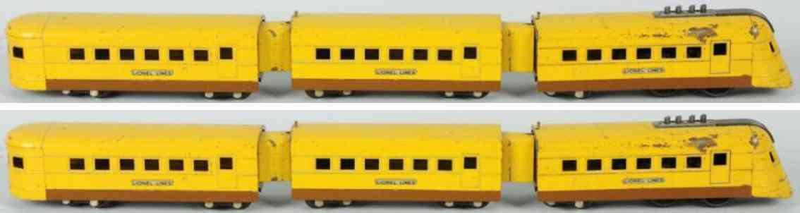 lionel 1700e 1701 1702 junior personenzug gelb braun spur 0
