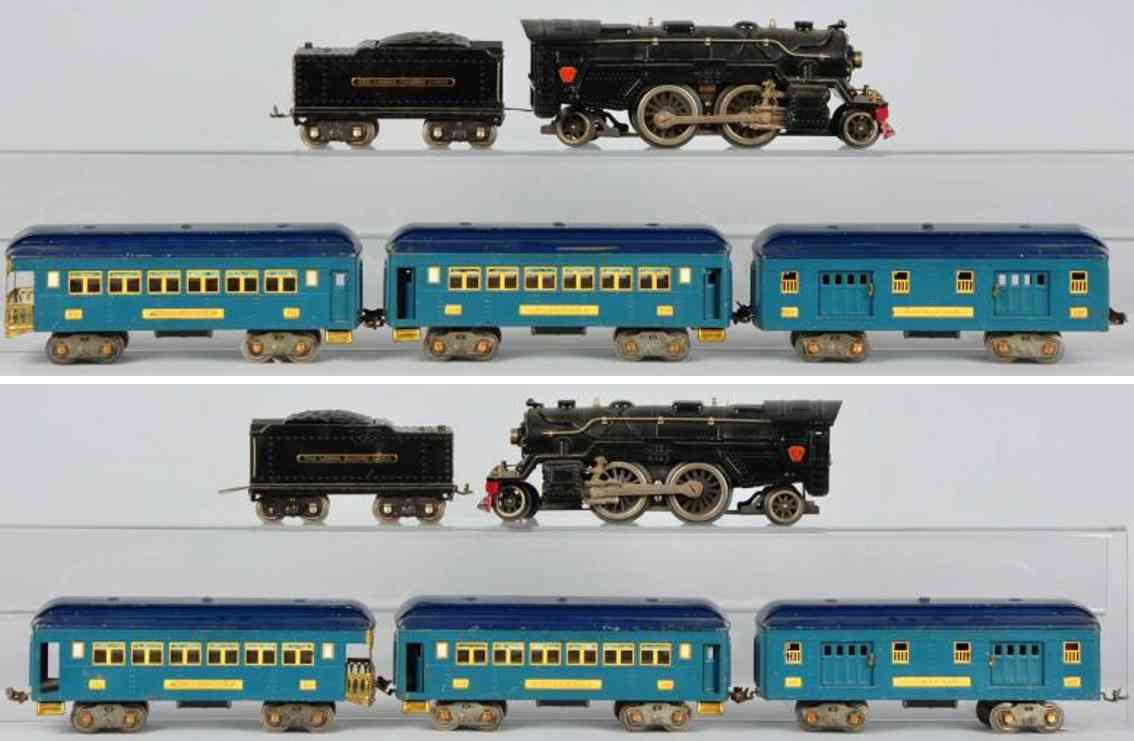Lionel Personenzug Lokomotive 1835E Tender 1835W cars 309 310 312 Standard Gauge