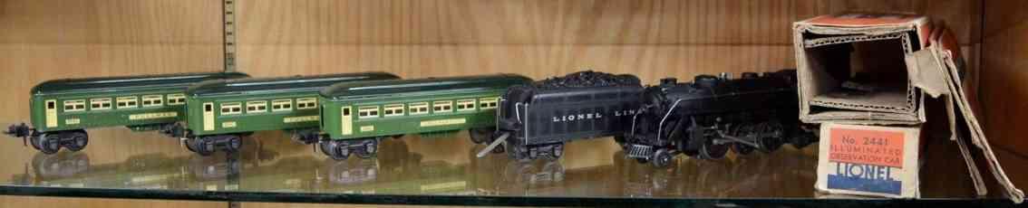 Lionel zug 224e lokomotive 2224 tender schlafwagen 2460 aussichtswagen 2461 gruen spur 0