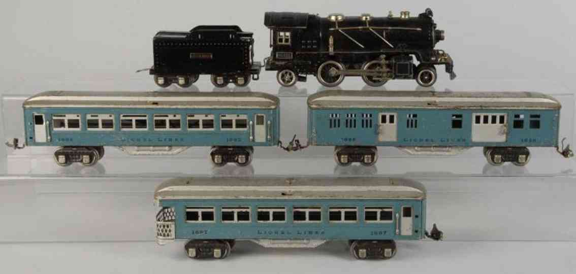 Lionel 261Personenzug Nr. 261 mit Elektrokampflokomotive Nr. 261-E Wagen 1685 1686 1687