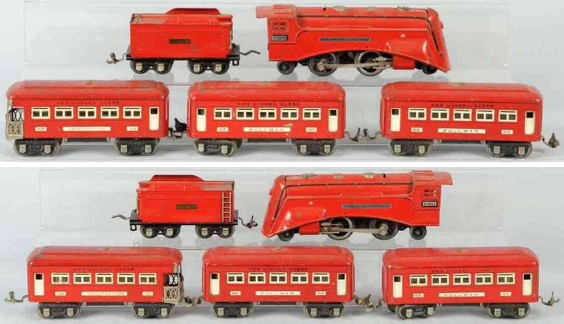 lionel der rote komet personenzug Lok 264e Wagen 603 604spur 0