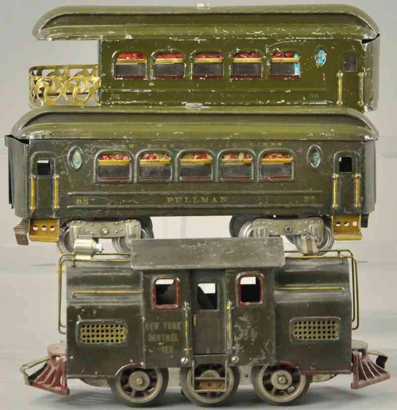 lionel 34 35 36 personenzug elektrolokomotive wagen olivgruen standard gauge
