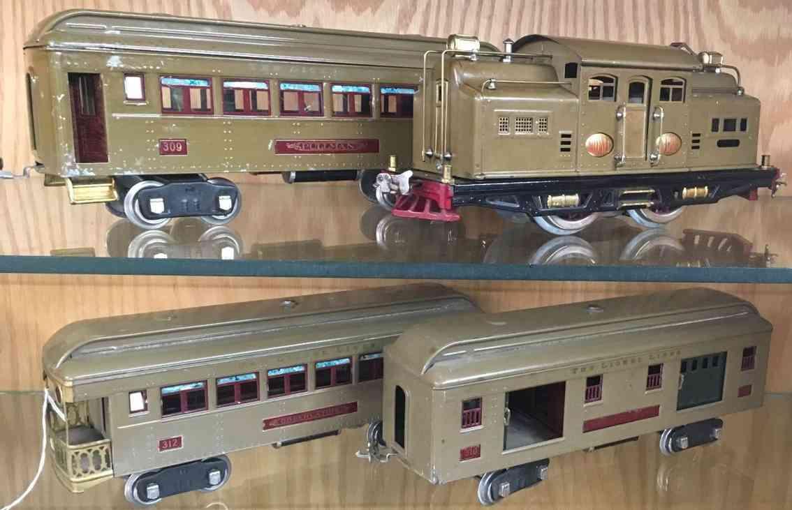 lionel 342e personenzug lokomotive 318e wagen 309 310 312 sandfarben standard gauge