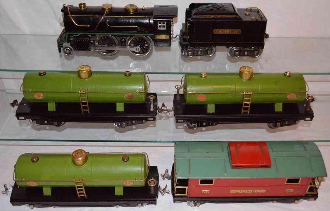 Lineol Kesselwagenzug Damplokomotive 384 Kesselwagen 215 Caboose 217