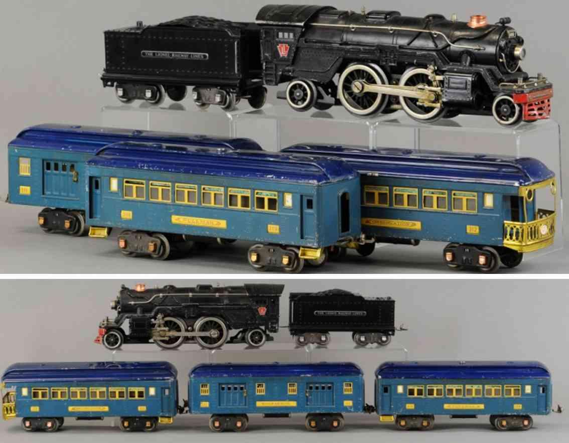 lionel 366e 1835e 384t 309 310 312 personenzug blau standard gauge