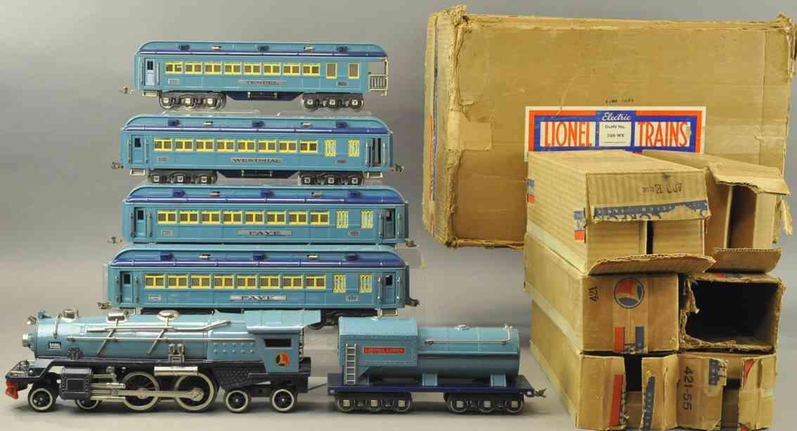 lionel 396w 400e 420 421 422 eisenbahn personenzug blauer komet standard gauge