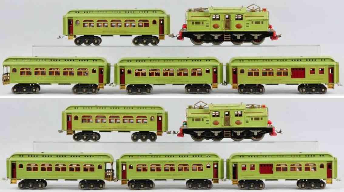 lionel oersonenzug apfelgruen lok 408e personenwagen 418 419 490 431 standard gauge